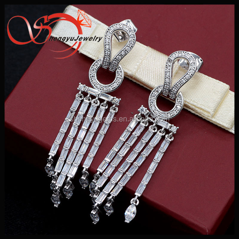 2016 new banquet Jewellery Accessories Silvery white Tassel Earrings
