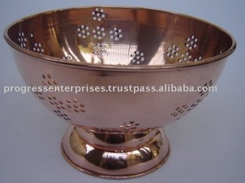 Brass & Copper Colander & Cauldrin
