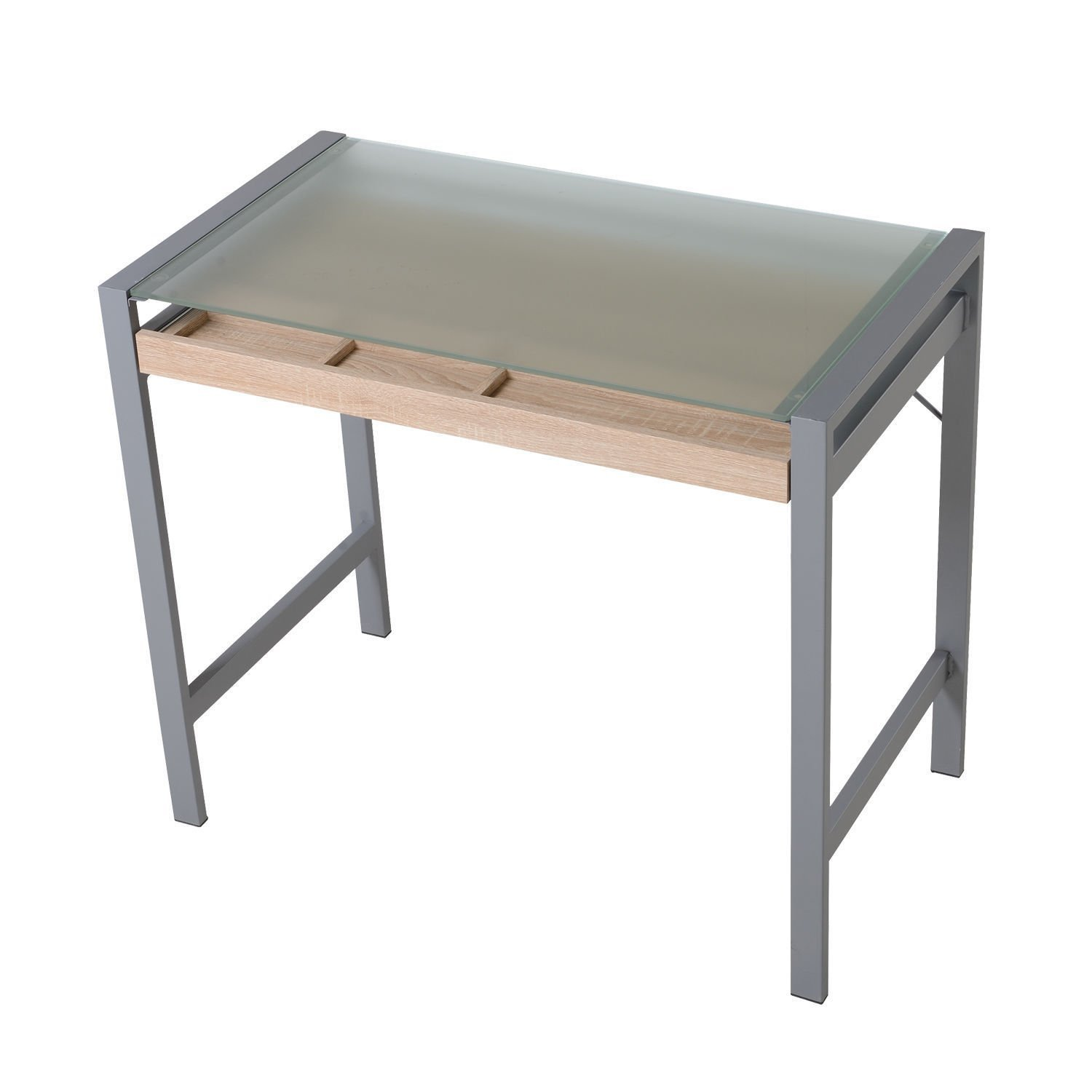 New Silver/Oak Modern Wood Frosted Glass Steel Computer Desk PC Laptop Writing Table w/Drawer