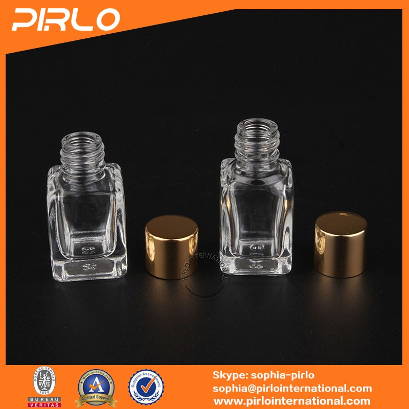 6ml 8ml small square shaped thickness clear glass bottle with golden metal screw cap for packing perfume essential oil fragrance