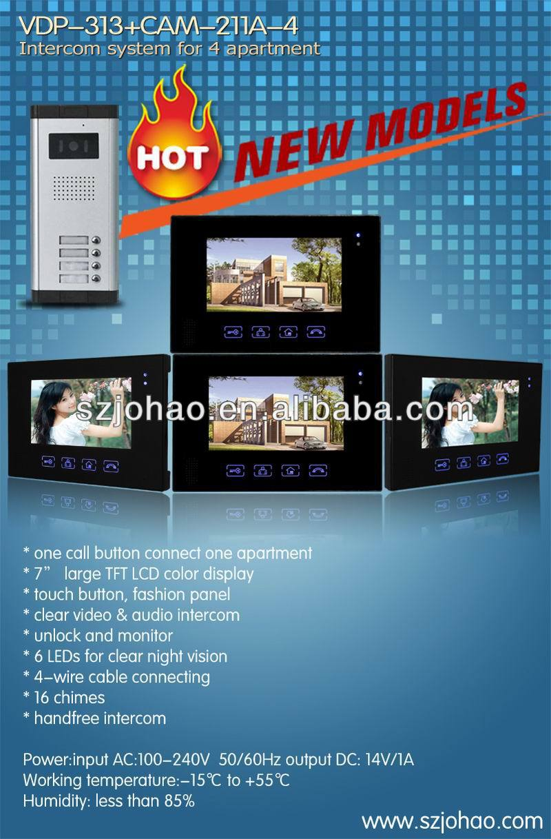 7 inch touch button video 2 way video intercom VDP312+CAM211
