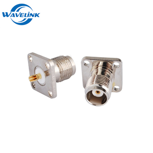 RF Coaxial Connector TNC 4 Hole Panel Mount Female Jack With Solder Cup Wide Flange