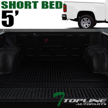 "Topline Autopart Black Rubber Diamond Plate Truck Bed Cargo Box Floor Mat Carpet 15-17 Chevy Colorado / GMC Canyon Crew Cab 5 Ft 60"" Short Bed"
