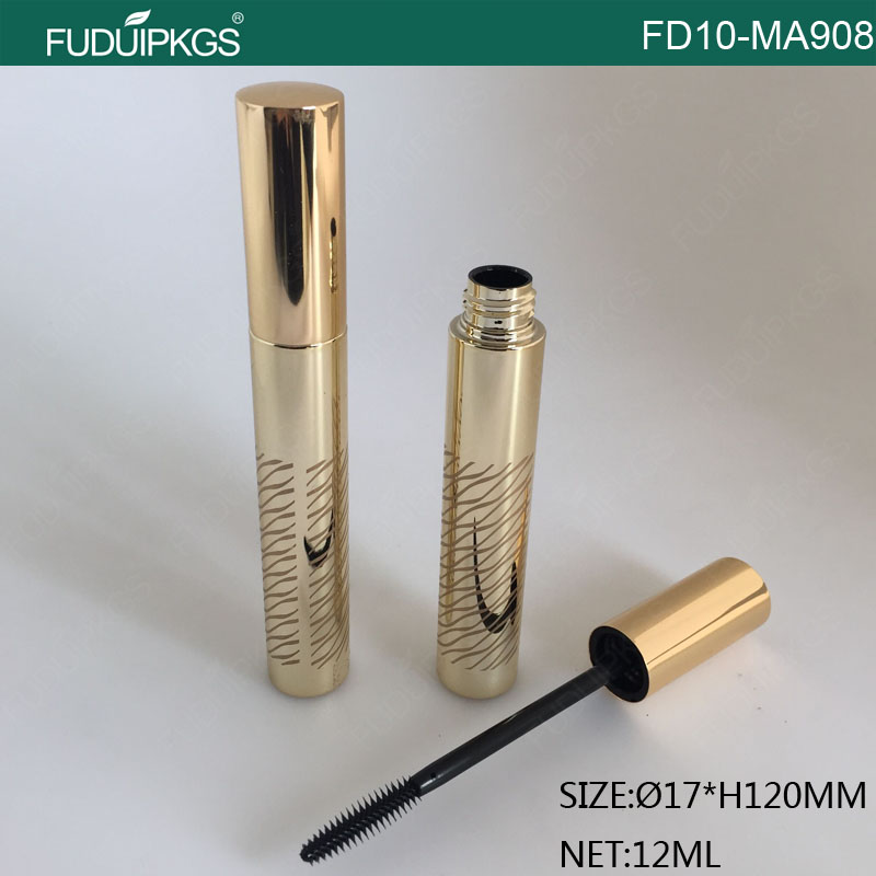 12ML Silk-screen Metallize Gold Cosmetic Eyelash Bottle For Mascara