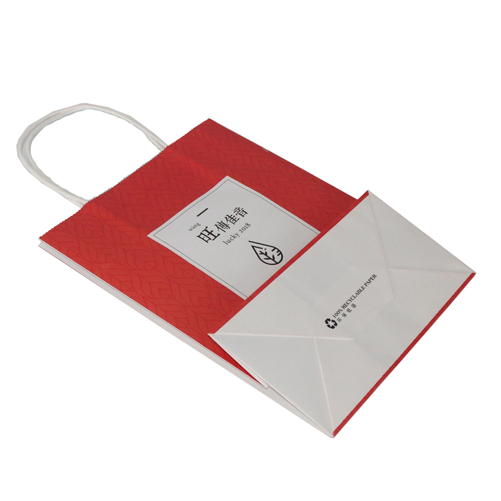 Printed White Craft Paper Bags