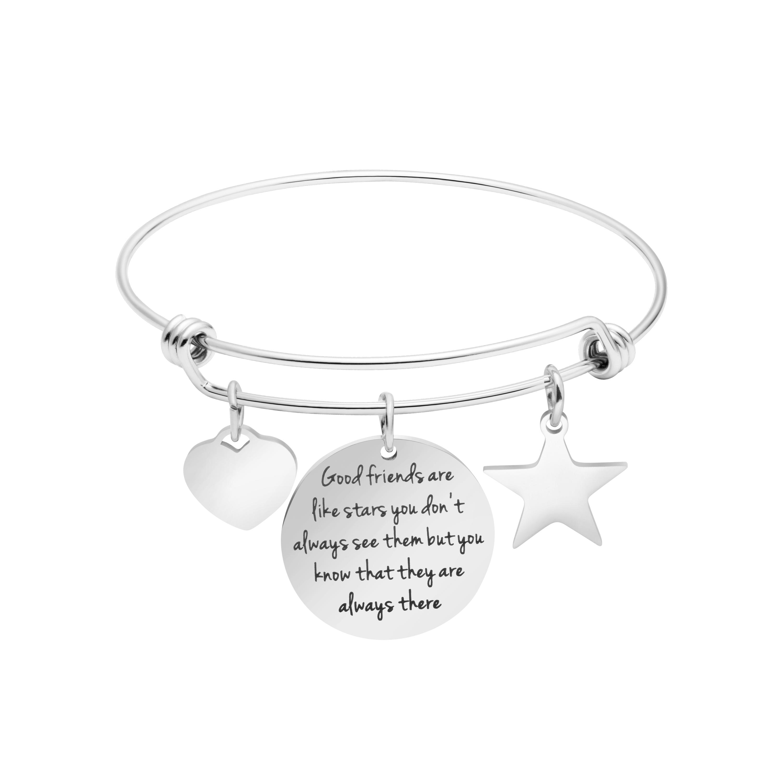 8ec41d721168 Mejor regalos para amigos grabado inspiración mensajes amistad pulsera con  forma de corazón