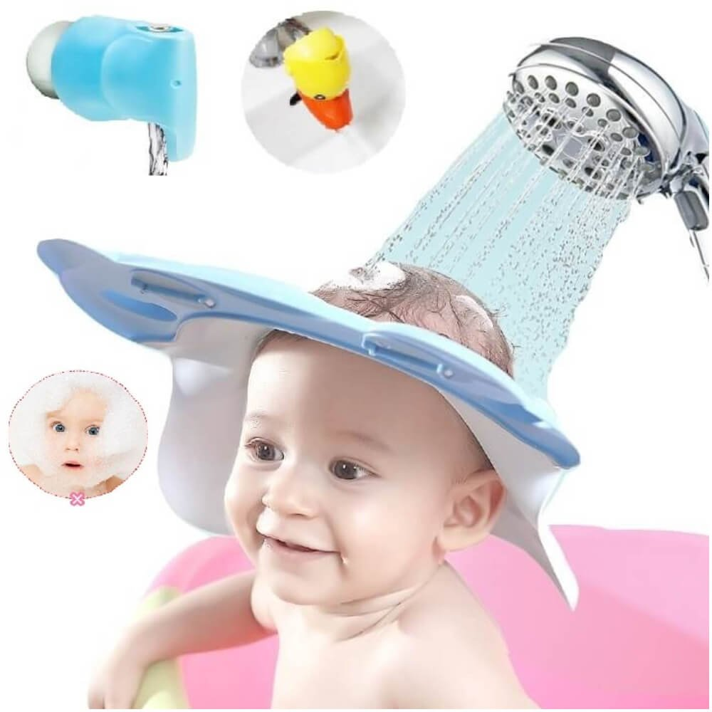 Buy Leak Proof Baby Shower Cap Blue Adjustable Straps Bathtub