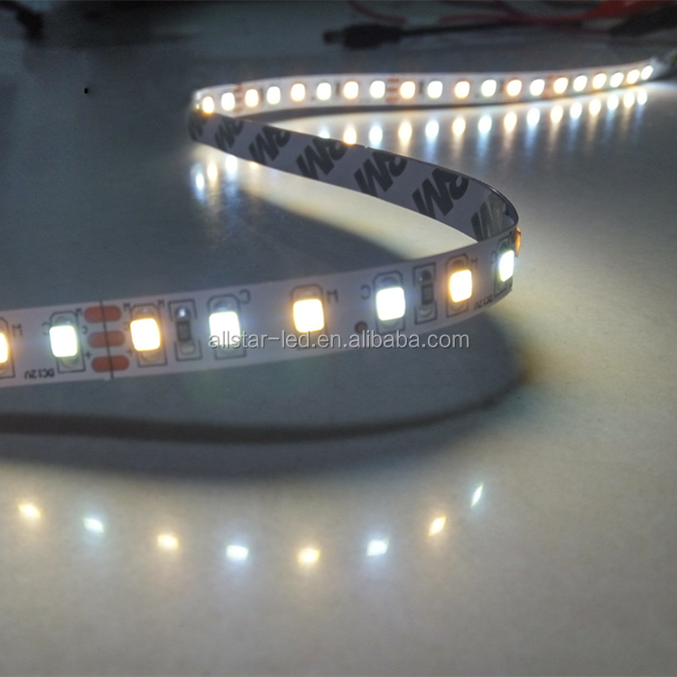 CCT adjustable bicolor led strip light 24v high cri 90 smd 2835 120 led per meter flexible strip lights