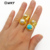 WT-R329 Fashion Design Women Adjustable Gold Jewelry Gemstone and Natural Freshwater Pearl Jade In Round Shape Ring