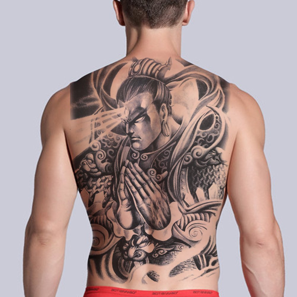 876d421df9992 TAFLY Men's Whole Back Temporary Tattoo Sticker Chinese Warrior God  Waterproof Tattoo Large Water Transfer Fake
