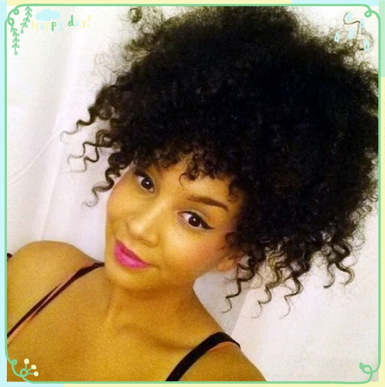 Afro Ponytail Human Hair Kinky Curly Ponytail Extension Clip In