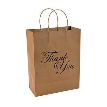 Custom logo printed small size favor wedding gift packaging brown kraft thank you paper bag with handles