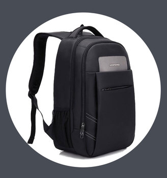 Stylish Black Business Computer Backpack Wholesale, Classic Nylon Waterproof Laptop Backpack Bag for Men