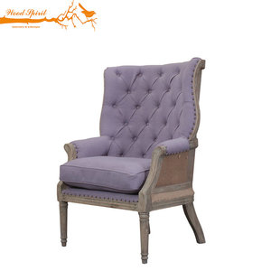 Retro Vintage Home Hotel Furniture Fabric Carved Relax Birch Wooden Salon High Back Wing Arm Chair, Antique Baroque Armchair