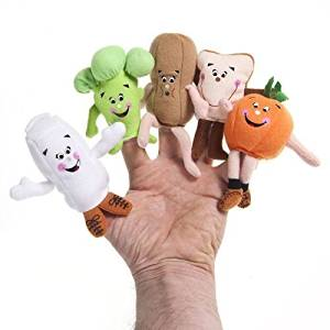 Food Groupie Set of 5 Broccoli Orange Bread Peanut Milk Carton Finger Puppets