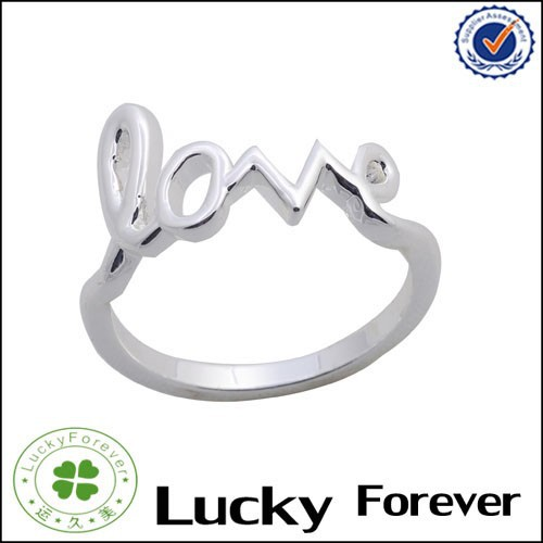 Custom sterling silver love script ring 2017