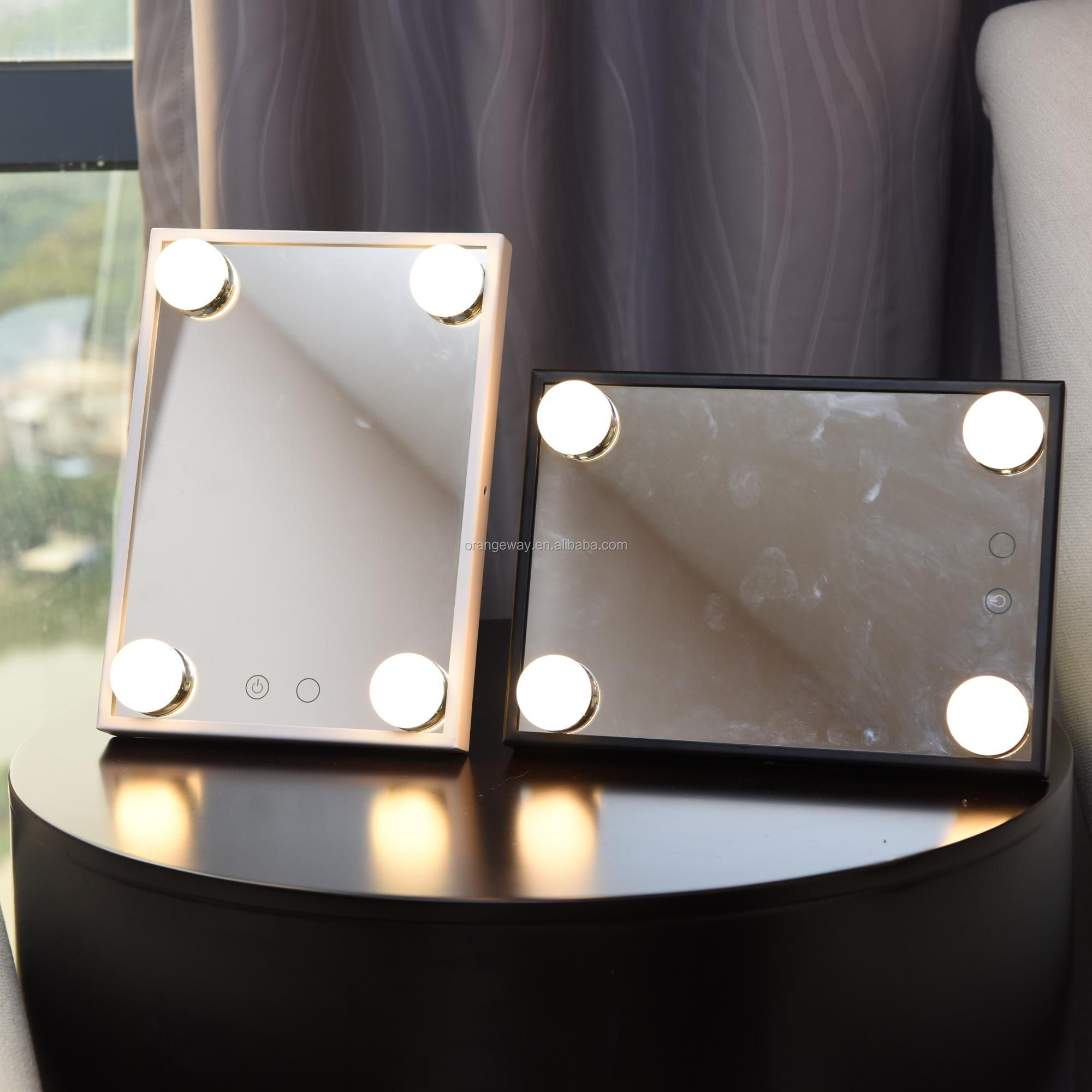 Smart Hollywood Lighted Vanity Mirror With 4 Led Bulbs And