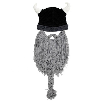 63b8c6d4cda Funny Viking Ox Horn Cap Beanie Hat Knit Hat Winter Warm Hat with Beard