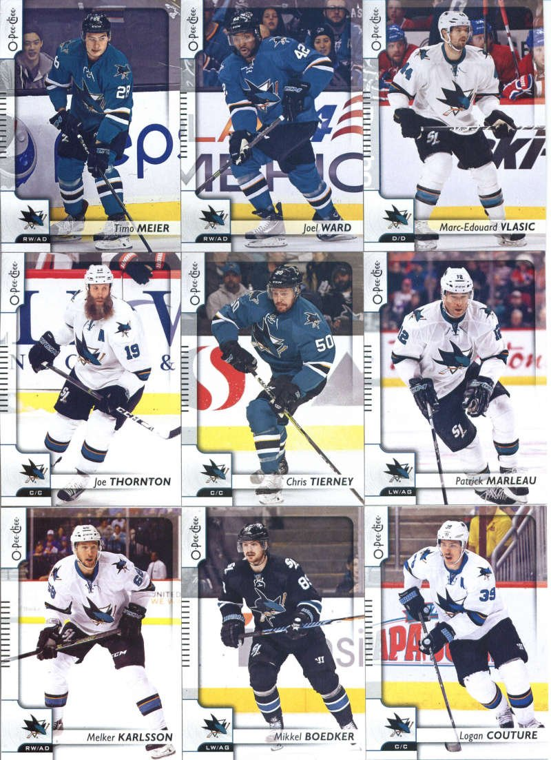 2017-18 O-Pee-Chee Hockey San Jose Sharks Team Set of 18 Cards: Brent Burns(#25), Martin Jones(#39), Joonas Donskoi(#47), Jannik Hansen(#73), Joe Pavelski(#137), Kevin Labanc(#159), Paul Martin(#164), Tomas Hertl(#191), David Schlemko(#218), Melker Karlsson(#248), Mikkel Boedker(#278), Logan