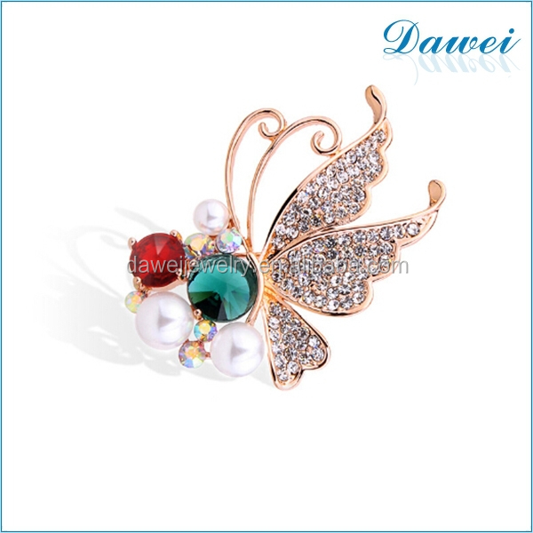 New design pearl rhinestone butterfly wings brooch for party