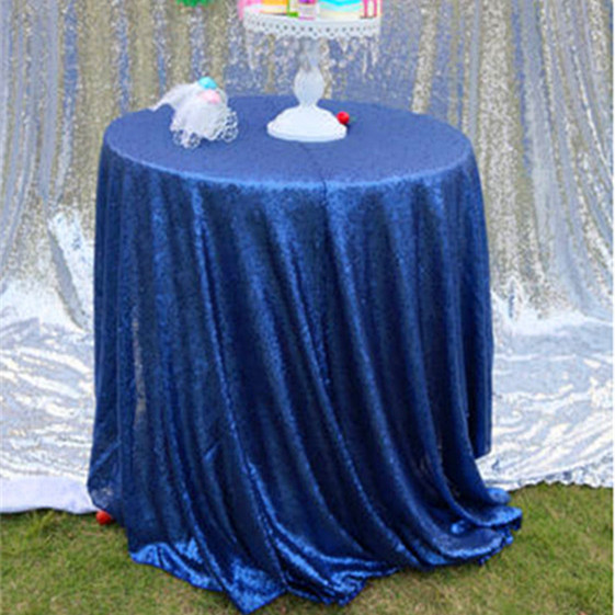 Cheap Blue 132'' Round Table Cloth Sequin Lace Fabric For Wedding/Christmas