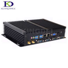 Low cost Intel Celeron 1037u Industrial Fanless mini pc x86 linux dual NIC with 4 RS232 USB 3.0 WIFI No noise Micro computer