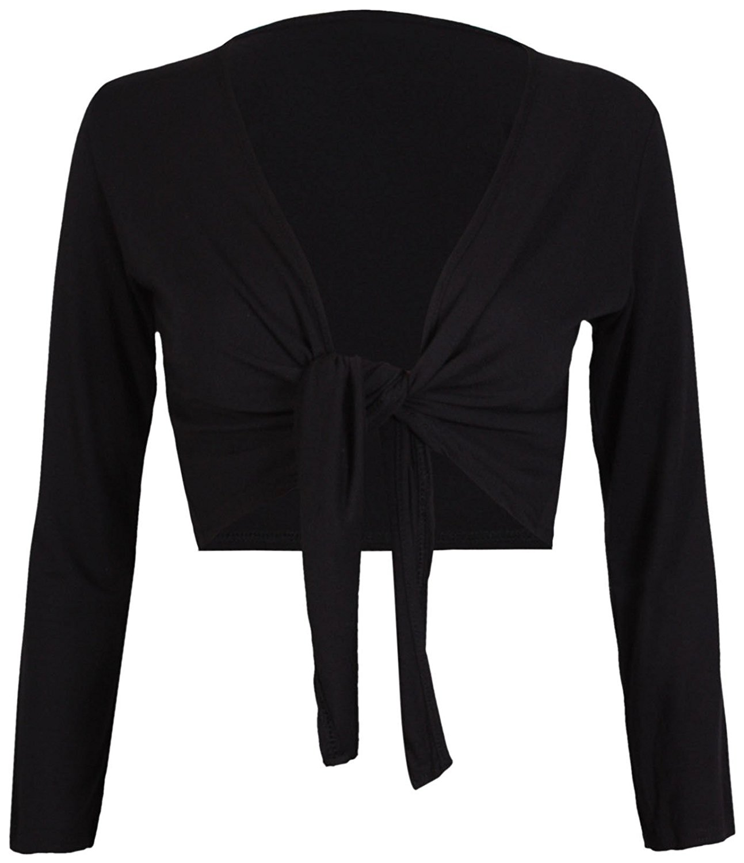 Tie Knot up Shrug Front Cropped Bolero Shrugs Cardigan Wrap Women's Ladies Long Full Sleeve Open Top
