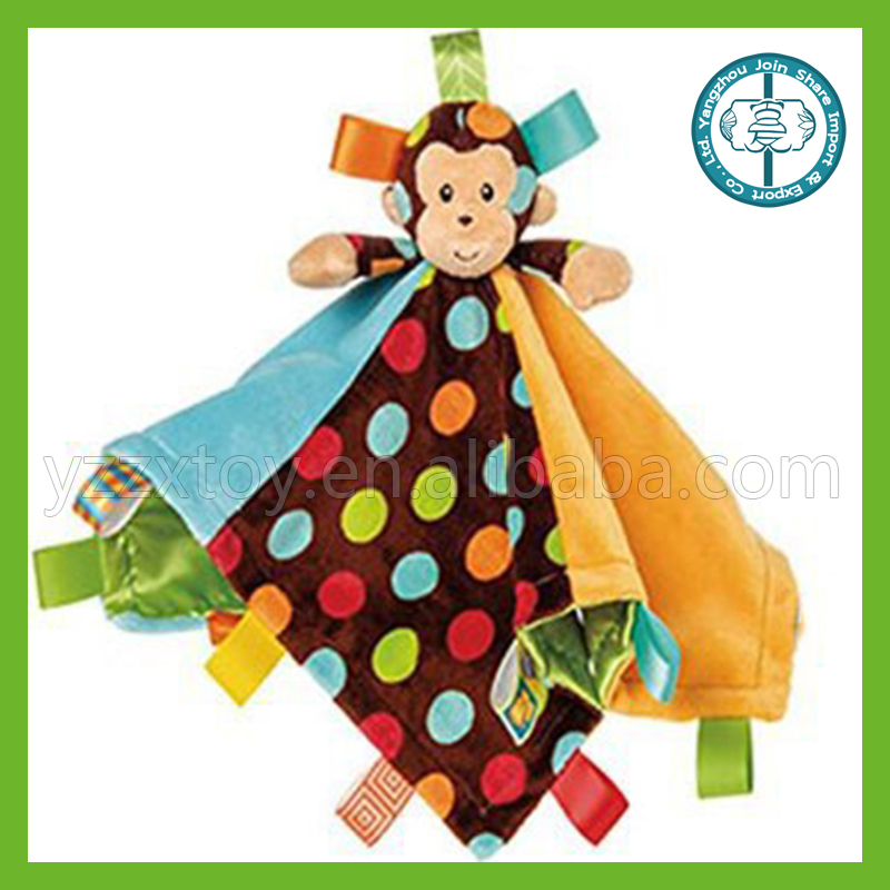 Soft plush toy colorful wave point monkey appease towel with labels