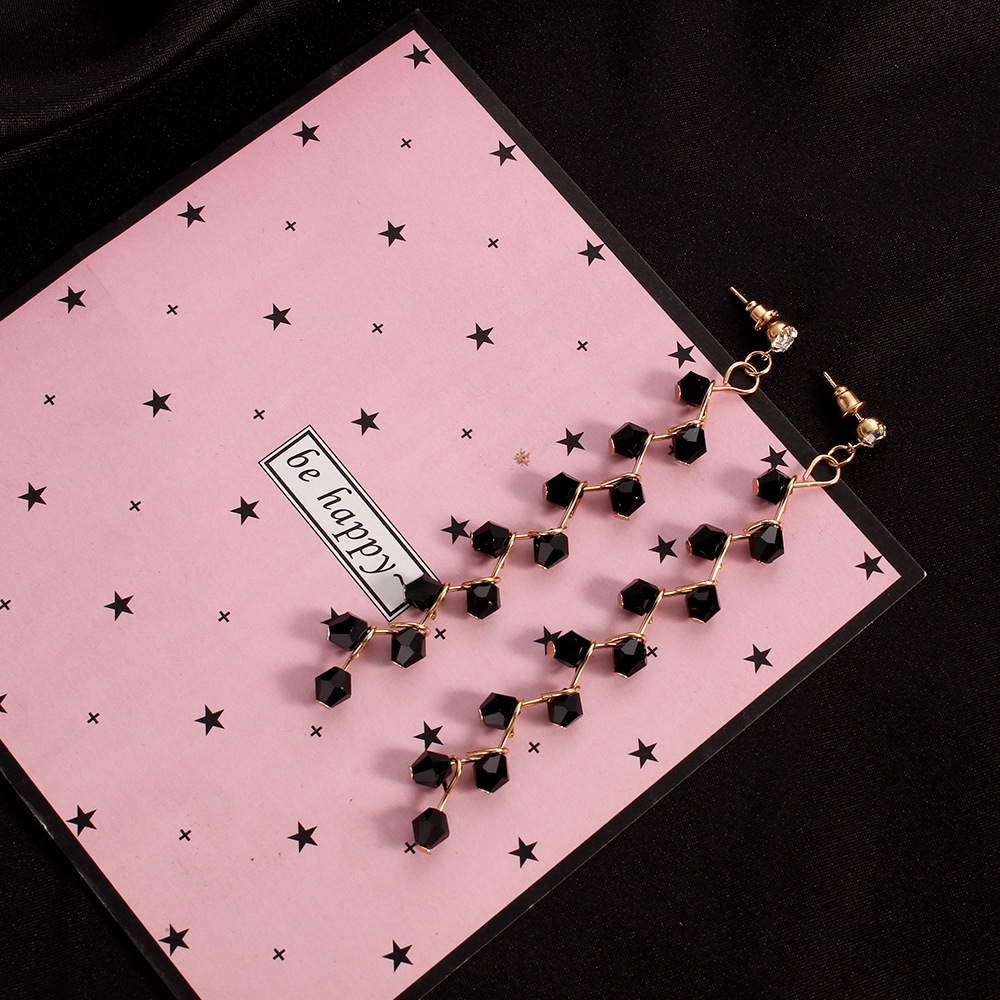 Stud designer long black earrings