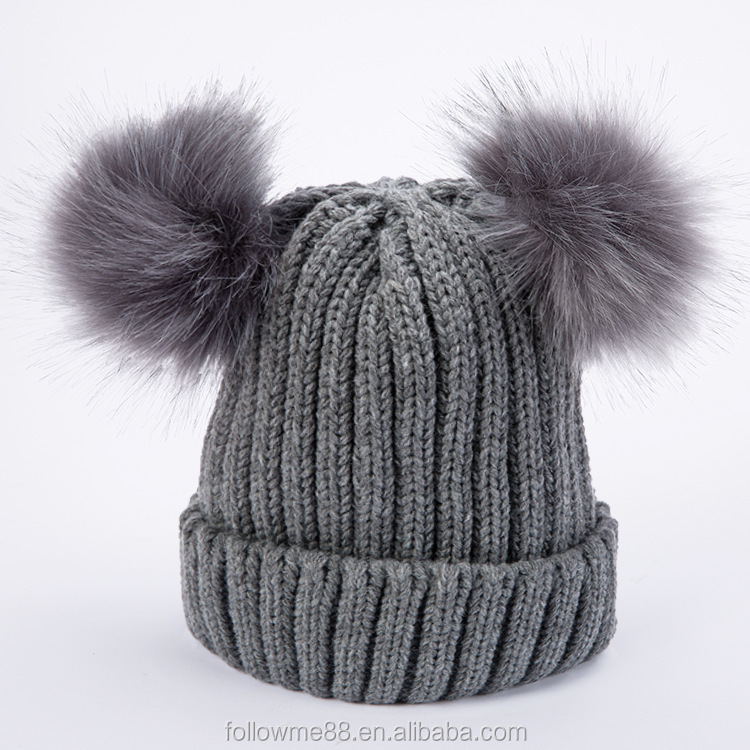 39646bb5f67ad Popular 2 Pom Poms Fur Ball Winter Cap Skullies Beanies Winter Hat For Women  Knitted Cotton Thick Female Warm Hat