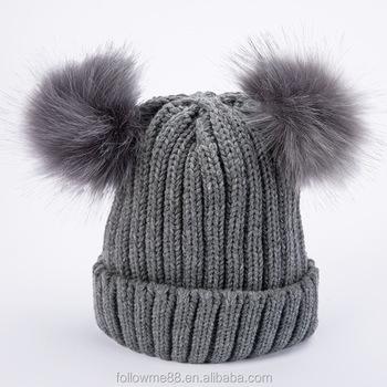 Popular 2 Pom Poms Fur Ball Winter Cap Skullies Beanies Winter Hat For  Women Knitted Cotton 279a2808596