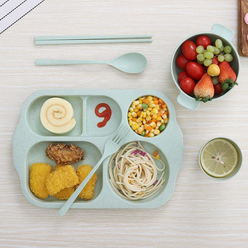 เด็กชุดอาหารค่ำย่อยสลายได้ชุดอาหารเย็น6ฟางข้าวสาลีชุด