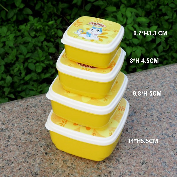 4 in 1 Food Container Environmently Food Grade Plastic Bento Fresh-Keeping Box Fridge Multi Capacity Save Space
