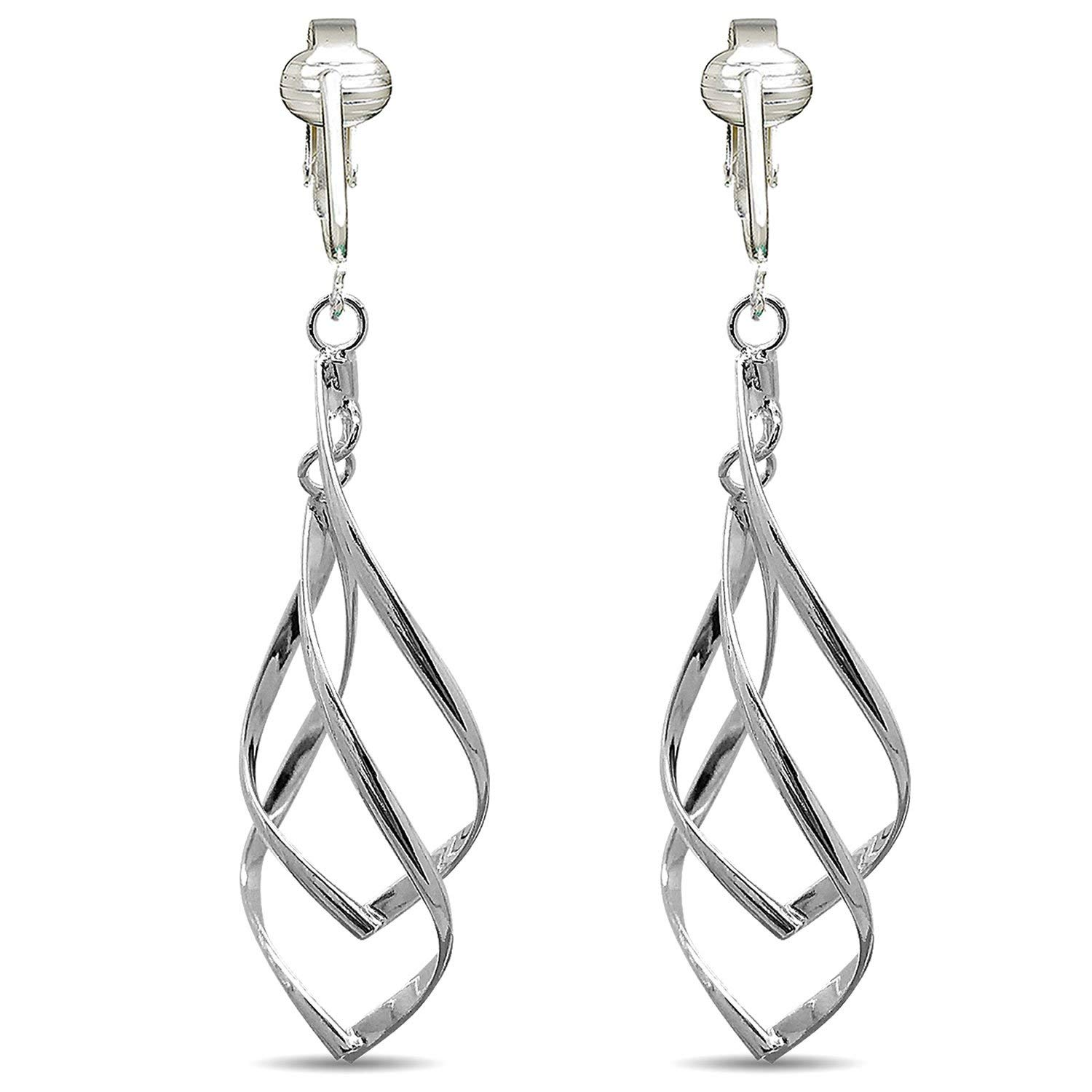Get Quotations Womens Clip Earrings Silver On For Women S Lightweight