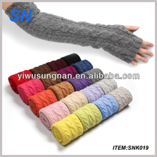 hot fashion Lady Winter Wrist Arm Warmer Faux Rabbit Fur Knit Knitted Fingerless Long Gloves cheap winter knit gloves