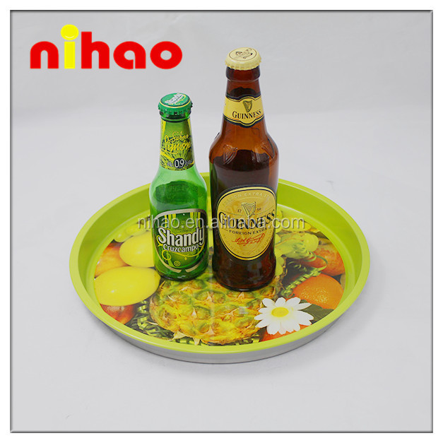 Customized Advertising Cheap Non-slip Metal Serving Tray