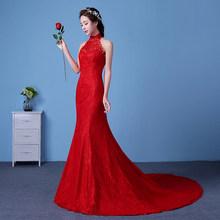 Женское свадебное платье It's YiiYa, Элегантное свадебное платье Русалка с высокой горловиной и шлейфом размера плюс, 2019(China)