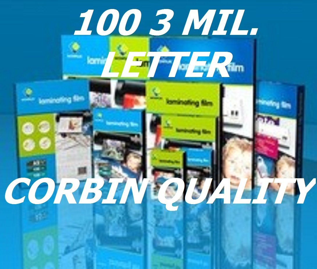 Letter Size, Qty 100 Pack, 3 Mil. Thermal Laminating Laminator Pouches Sleeves 9 x 11-1/2 Ultra Clear. & Free Carrier Sleeve. See Photos for Product Quality & Clarity