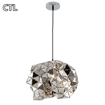 Postmodern creative engineering pendant light cafe restaurant clubhouse stairs hanging lamp stainless steel chandelier