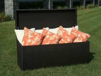 PE Brown Rattan Waterproof Outdoor Cushion Storage Box