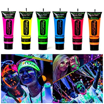 8 x UV-Körperbemalung Black Light Make-Up Körperbemalung Neon Blacklight Bodypaint Face Paints