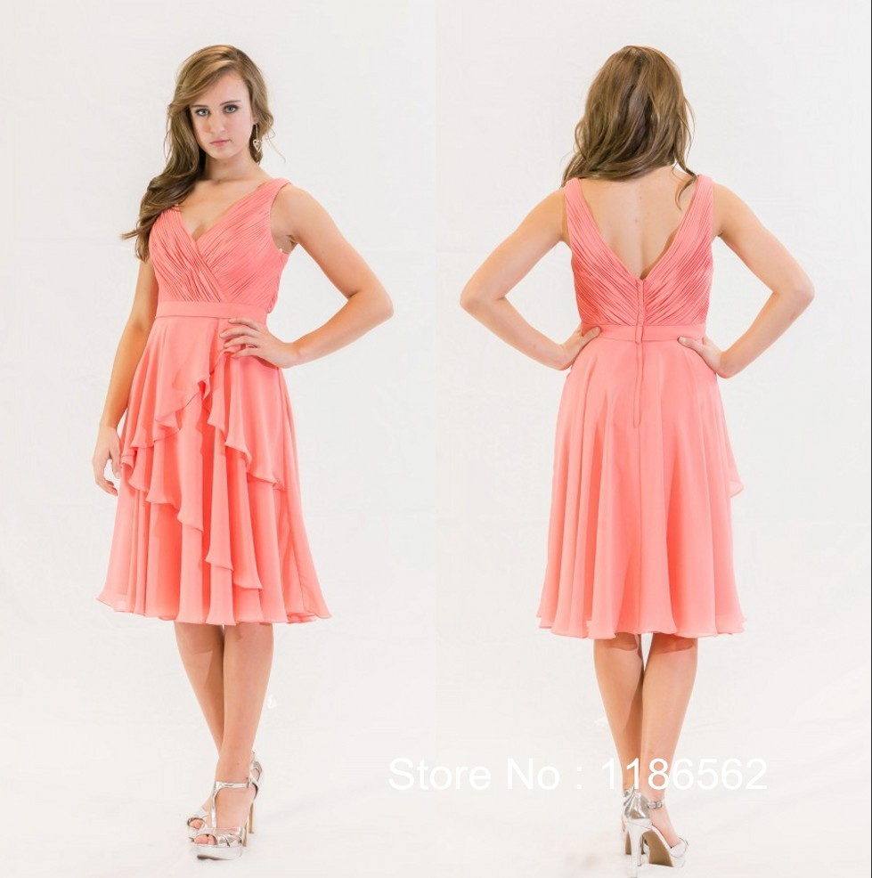 Cheap the color coral on a bridesmaid dress find the color coral get quotations wholesale a line v neck pleat chiffon knee length coral color bridesmaid dress 2015 wedding party ombrellifo Gallery