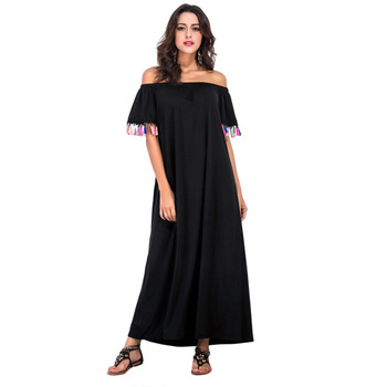 a215572754d1 Women Off Shoulder Long Beach Dress Boho Tassel Short Sleeve Slash Neck  Loose Casual Dress Black