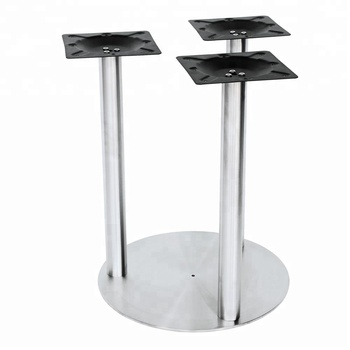 Daily Indoor Use Stainless Steel Table Base With Three Tubes And Top Plates