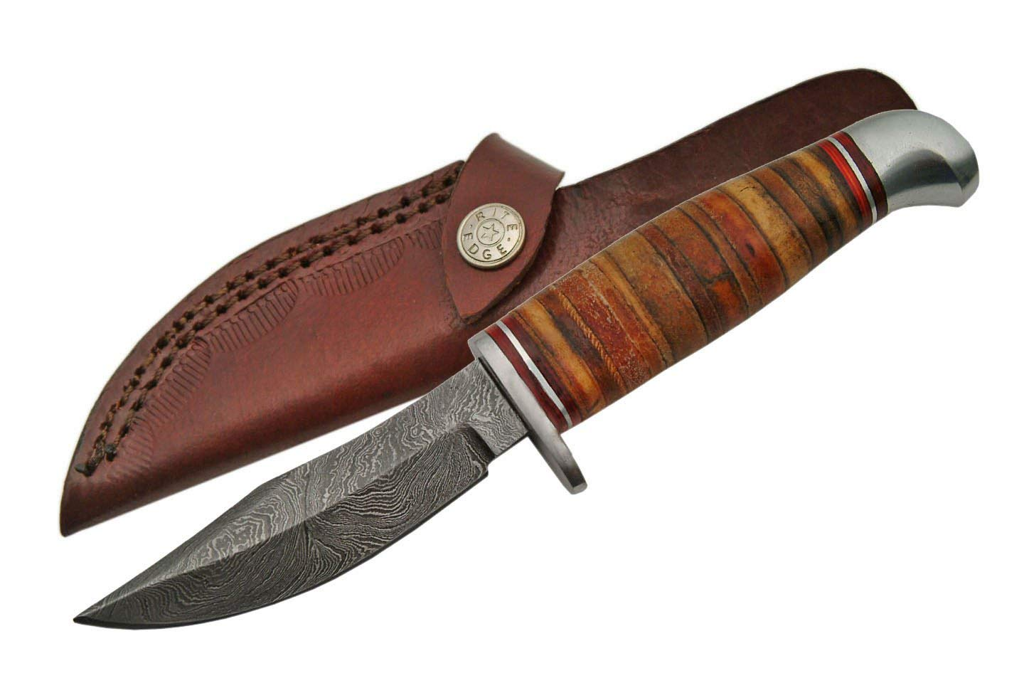 SZCO Supplies Damascus Steel Stacked Leather Skinning Knife Damascus Steel Knife