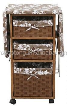 3 Storage Drawers Wooden Folding Ironing Board / Ironing Table / Ironing  Cabinet