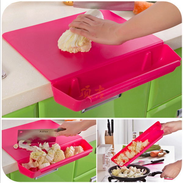 Custom High Quality Pink Plastic Cutting Board With Draw Folding Chopping Manufacturer In