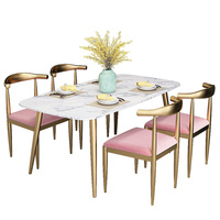Modern nordic marble dining table prices, white marble top dining table gold leg set