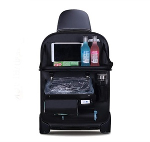 Car Back Seat Organizer with Foldable Table Tray for Kids Bottles Storage with Tissue Box