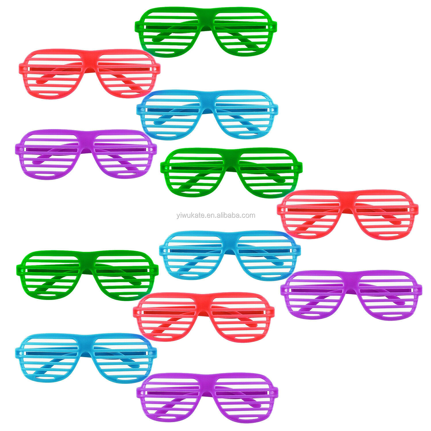 Hot-selling 12 Pack Kleurrijke Shutter Shades Bril Party Fancy Dress Heldere Zonnebril KR317